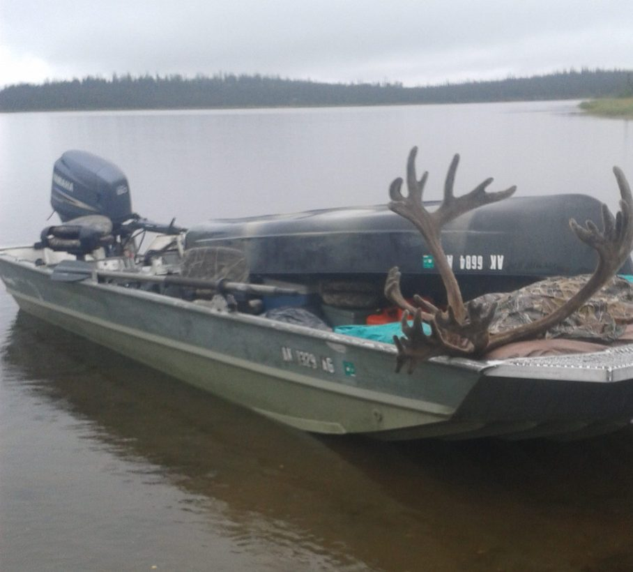 Wetlander slick coating on jonboat in Alaska caribou hunt
