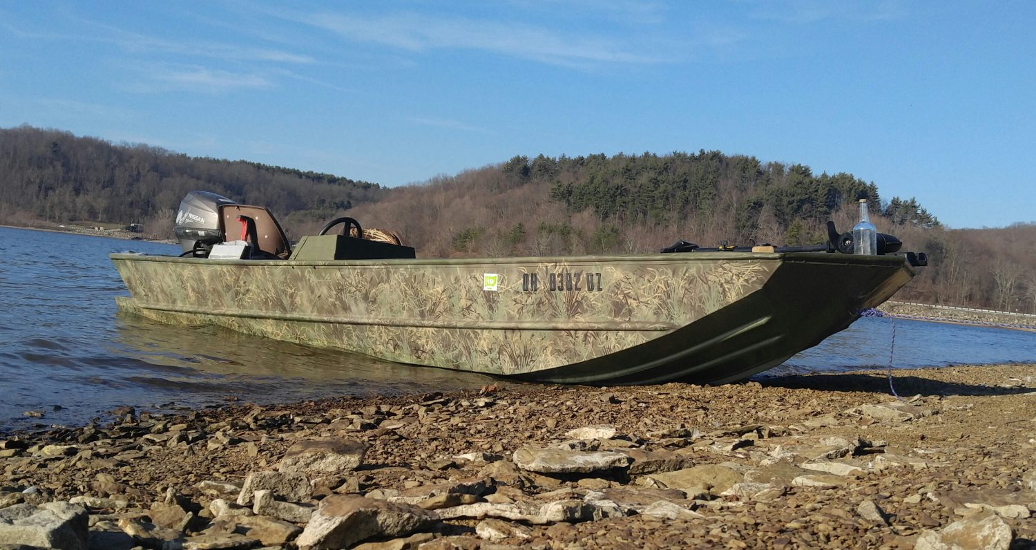 Wetlander bottom paint on a camo jonboat courtesy of Drew Penso